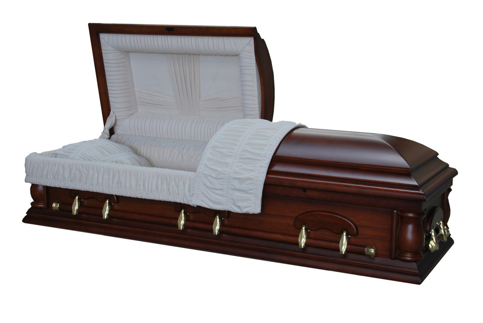 Solid ash wood red walnut matte finish with white velvet interior alabama casket store for Black casket with red interior